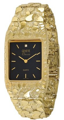 Primal Gold 10k Black 27x47mm Dial Square Face Nugget Watch