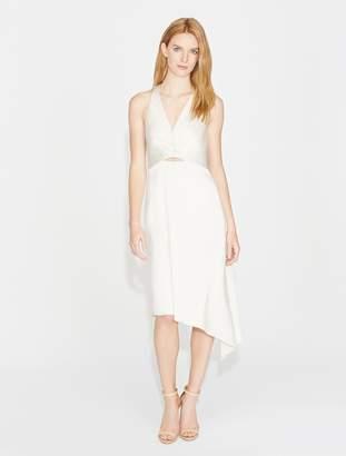 Halston Twist Drape Satin Dress