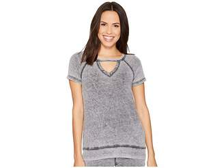 Allen Allen Keyhole Short Sleeve Top Women's Clothing