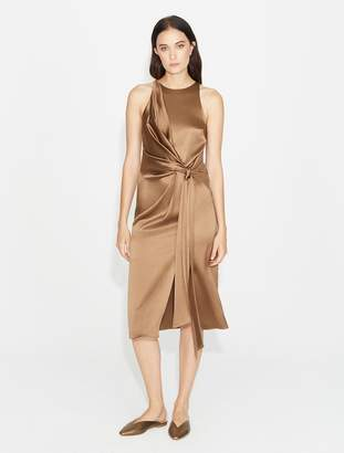 Halston Draped Front Satin Dress