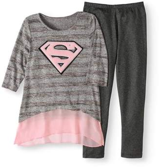 SUPERGIRL-DC COMISC Supergirl Logo Sweater Knit Tunick and Legging, 2-Piece Outfit Set (Little Girls & Big Girls)