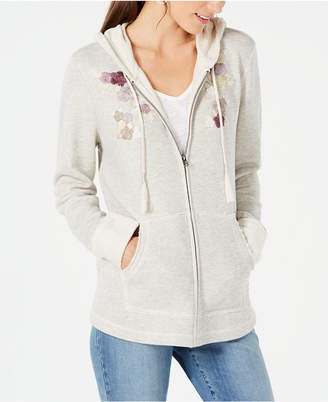 Style&Co. Style & Co Embroidered Zip-Front Hoodie
