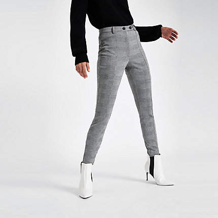 Womens Grey check skinny trousers