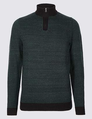 Marks and Spencer Pure Cotton Textured Half Zip Jumper