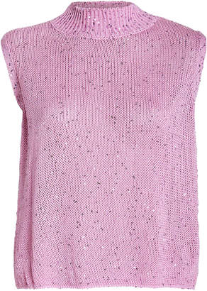 Mason by Michelle Mason Sequin-Embellished Sleeveless Sweater