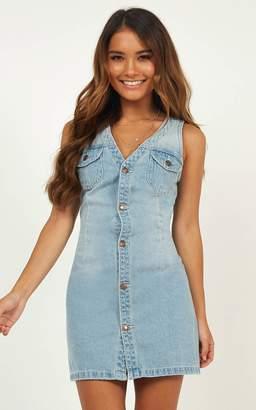 Showpo Get Up dress in light wash denim - 6 (XS) Pinafores & Overalls