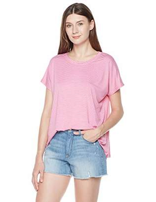 Plumberry Women's 2-Pack Short-Sleeve Crewneck Striped T-Shirt Casual Blouse Top S