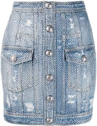 Balmain distressed crystal denim skirt