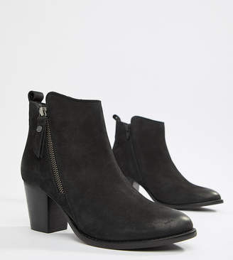 Dune London Exclusive Pontoon Leather Western Kitten heel Ankle Boots With Side Zip Detail