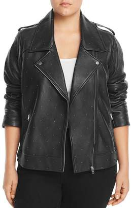 Lucky Brand Plus Studded Leather Moto Jacket
