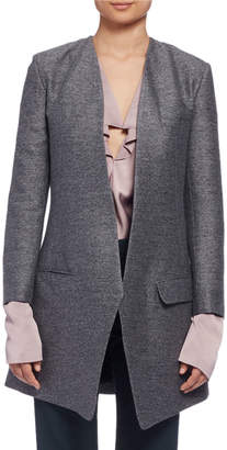 Lanvin Long Heathered One-Button Jacket, Gray (Gris)