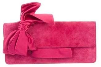 Christian Louboutin Suede Bow Clutch