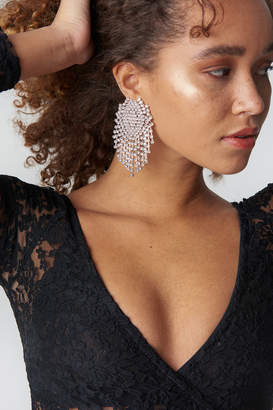 Na Kd Accessories Big Round Rhinestone Earrings Silver
