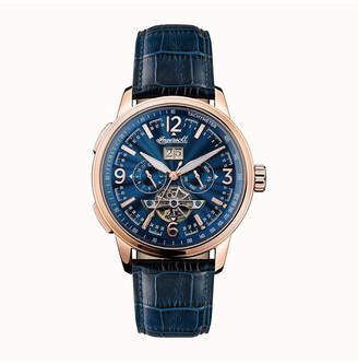 Ingersoll Regent Automatic Chronograph with Rose Gold Ip Stainless Steel Case, Blue Dial and Blue Croco Embossed Leather Strap