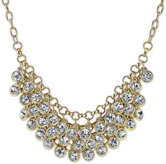 1928 Jewelry Crystal Cluster Gold-Tone Bib Necklace