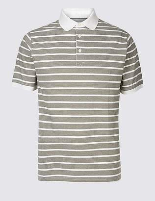Marks and Spencer Pure Cotton Striped Polo Shirt