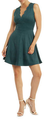 Dex Scallop-Trimmed Fit--Flare Dress