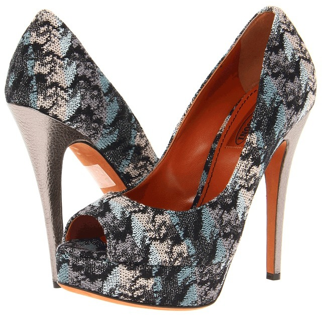Missoni Abstract Flame Stitch Open Toe Platform Pump (Pewter) - Footwear