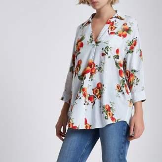 River Island White stripe peach print cross back blouse