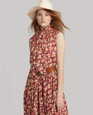 Ralph Lauren Floral Necktie Silk Dress