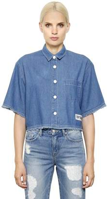 SteveJ & YoniP Cropped Cotton Denim Shirt
