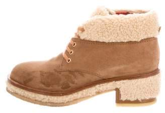 Chanel Shearling-Trimmed Ankle Boots brown Shearling-Trimmed Ankle Boots