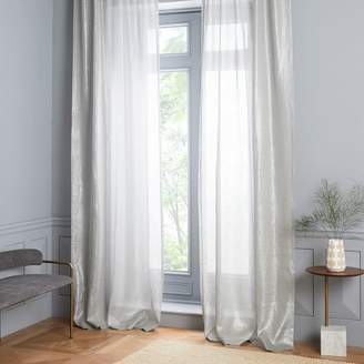 west elm Sheer Metallic Belgian Flax Linen Curtain - Platinum