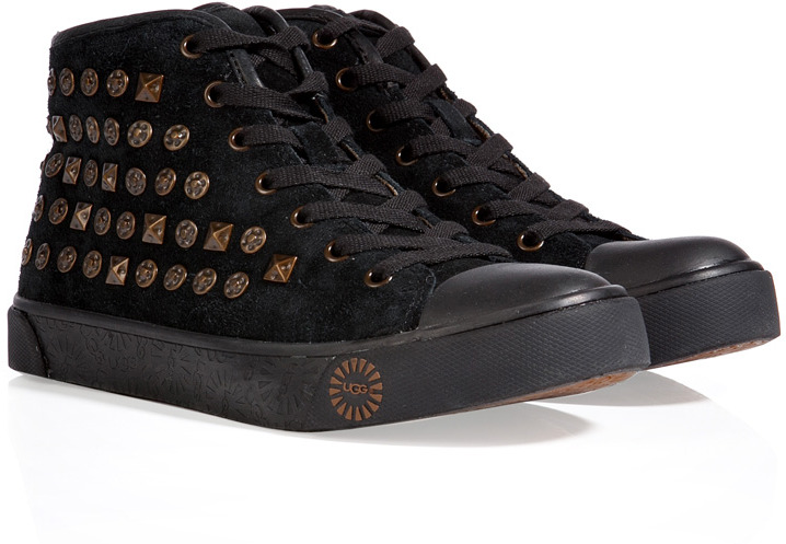 UGG Leather Cayha Studded Sneakers in Black