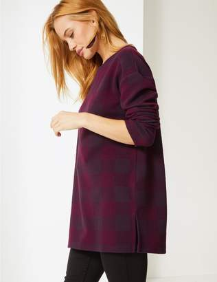 Marks and Spencer PETITE Checked Round Neck Long Sleeve Tunic