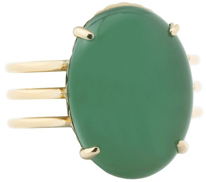 Elizabeth and James Berlin Oval Cabochon Ring with Agate (Gold/Green Agate) - Jewelry