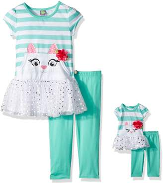 Dollie & Me Big Girls' Drop-Waist Tunic with Legging and Matching Doll Outfit