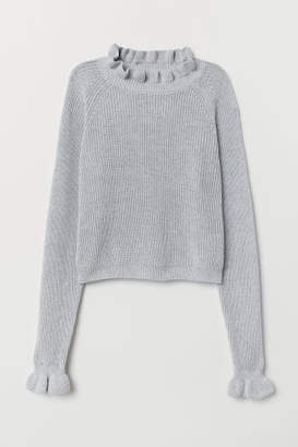 H&M Knit Sweater with Ruffle Trim - Gray