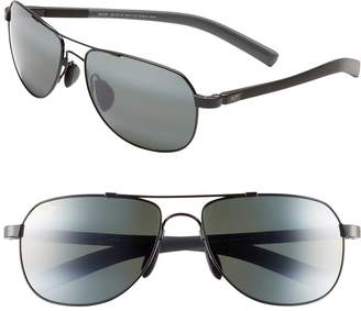 Maui Jim 'Maui Flex - PolarizedPlus(R)2' 56mm Aviator Sunglasses