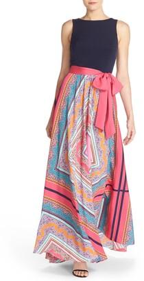 Eliza J Scarf Print Jersey & Crepe de Chine Maxi Dress