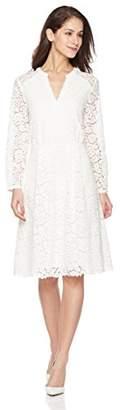 Suite Alice Women's Long Sleeve V Cut Front Lace Dress