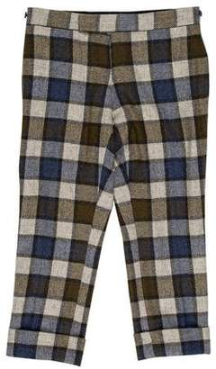 Thom Browne Gingham Cuffed Flat-Front Pants