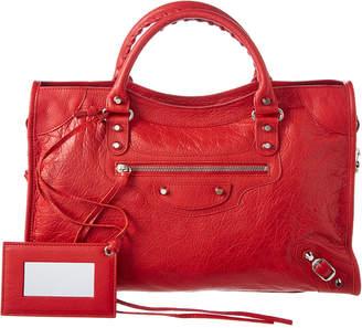 Balenciaga Classic City Aj Logo Strap Leather Shoulder Bag