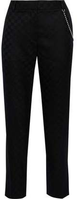 Alexander Wang Cropped Chain-Embellished Checked Wool-Twill Straight-Leg Pants