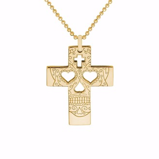 Cartergore Gold Sugar Skull Cross Pendant Necklace