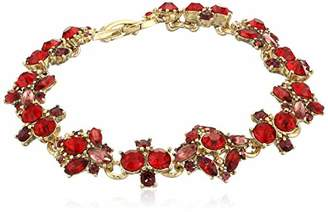 Marchesa Women's Gold-Tone Red Multi Flex Bracelet