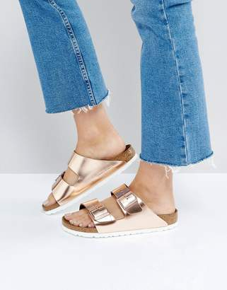 Birkenstock Arizona Metallic Copper Leather Flat Sandals $119 thestylecure.com