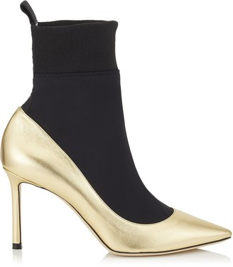 Jimmy Choo BRANDON 85 Gold Metallic Nappa Leather and Black Stretch Fabric Sock Ankle Boots
