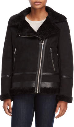 DKNY Black Faux Shearling Moto Jacket