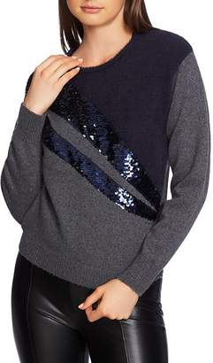 1 STATE 1.STATE Mixed Media Sequin Sweater