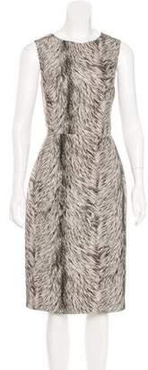 Oscar de la Renta Printed Silk Midi Dress