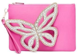 Sophia Webster Flossy Butterfly Satin Clutch - Womens - Pink