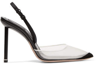 Alexander Wang Alix Suede And Leather-trimmed Mesh Slingback Pumps - Black
