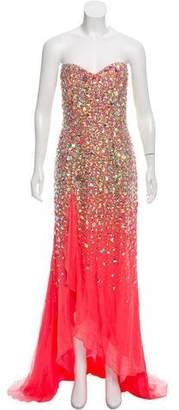 Terani Couture Beaded Silk Dress w/ Tags