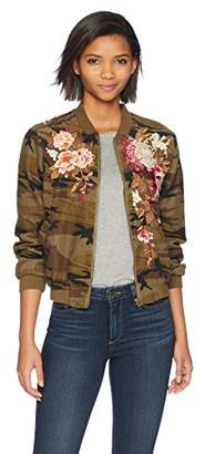 3J Workshop by Johnny Was Women's Embroidered Bomber Zip Jacket