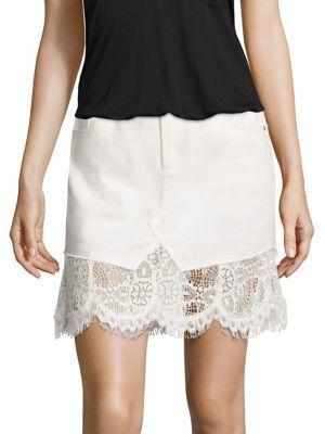 McQ Alexander McQueen Lace Hem Denim Skirt $480 thestylecure.com
